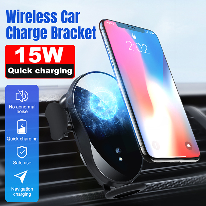 15W Car phone holder qi wireless charger for iPhone X Samsung S10 S9 S8 phone holder car phone power charger fast charger