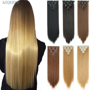 """AZQUEEN 7 шт./компл. 24 """"парик, заколки, заколки для волос, трессы, заколки, 140G Прямые 16 клипов в искусственных для укладки волос Синтетический клип в наращивание волос термостойкие"""