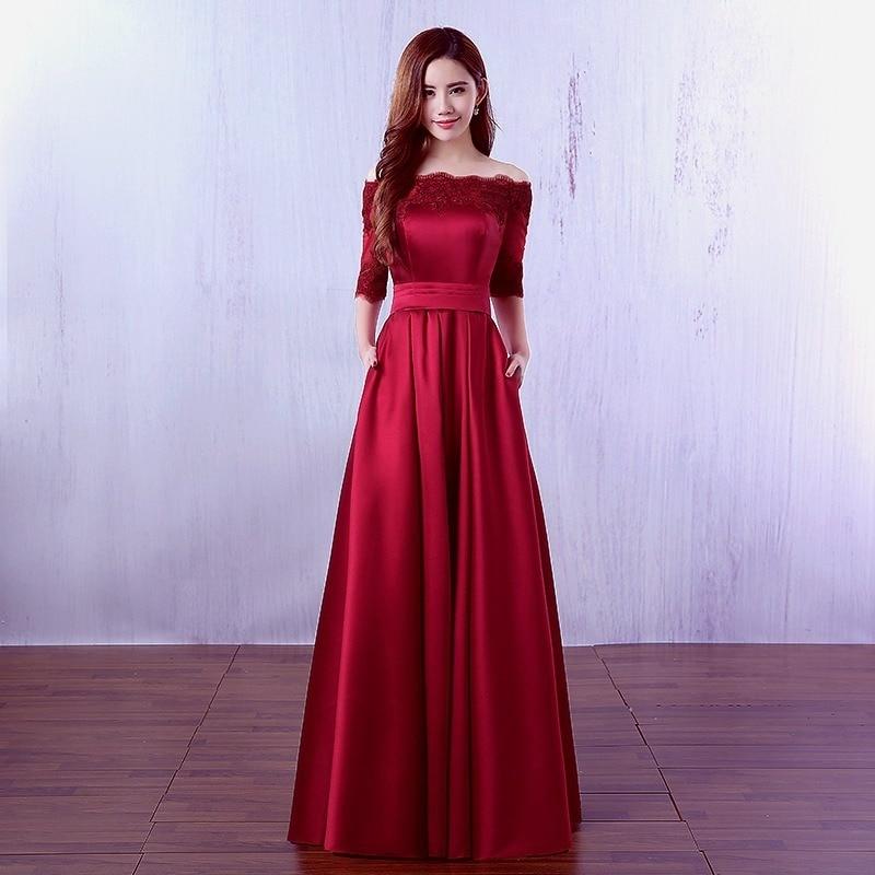 2020 Sale A-line Bridesmaid Dresses Long Party Dress, 2020 New Autumn Female Temperament Elegant Word Shoulder Long Host Dress