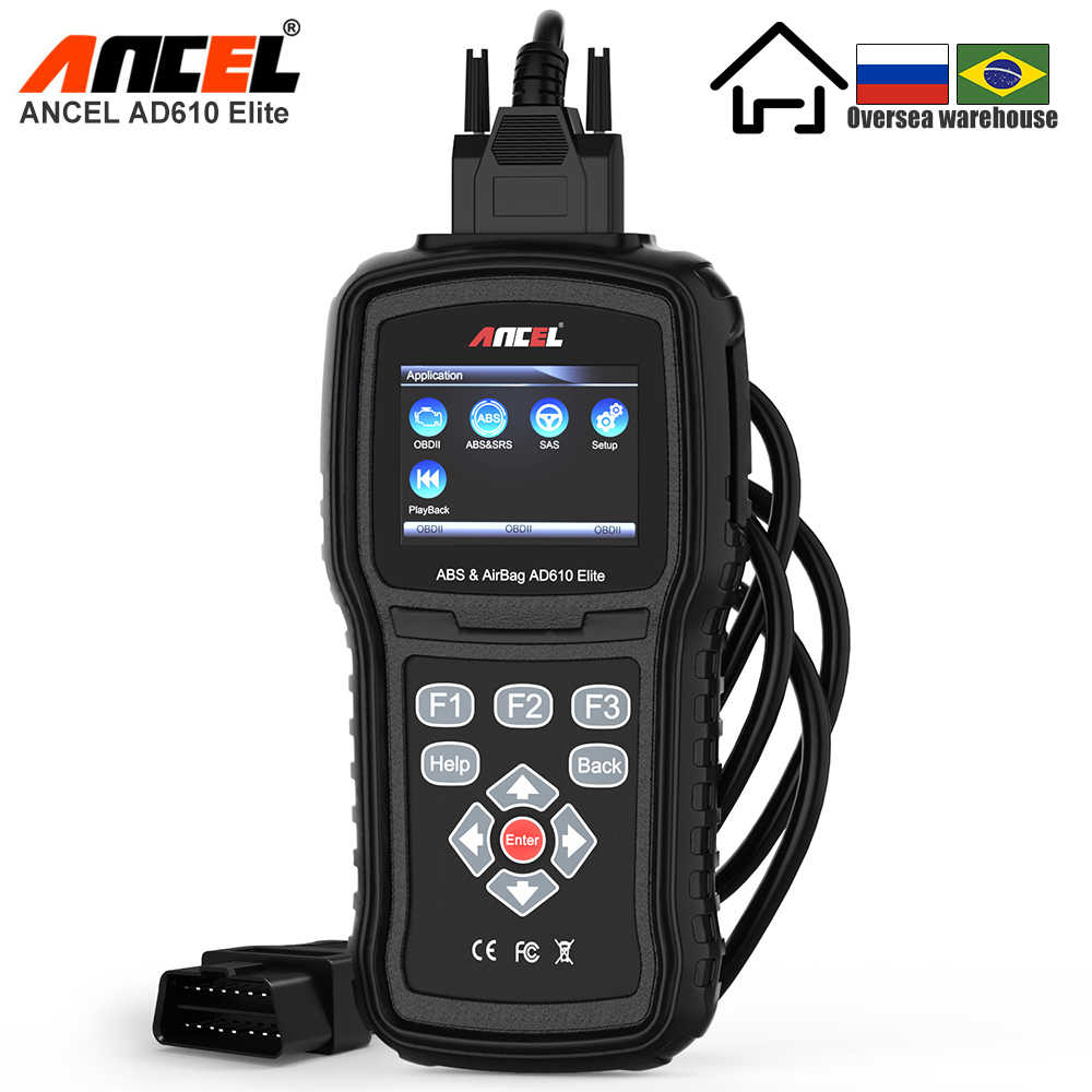 Ancel AD610 Elite Professionele OBD2 Automotive Scanner Abs Airbag Sas Auto Diagnostic Tool Obdii Eobd Code Reader Gratis Update Obd
