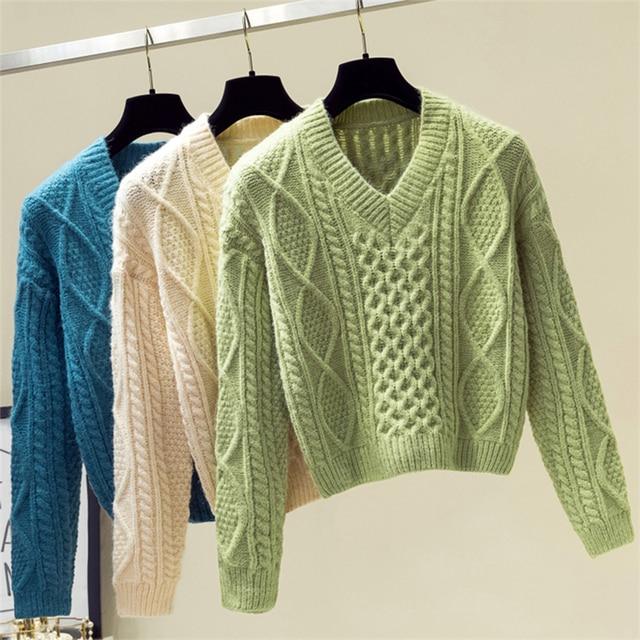 Ailegogo New 2019 Autumn Winter Women Sweaters V-Neck Knitting Fashion Korean Style Solid Minimalist Ladies Female Tops SW716 1