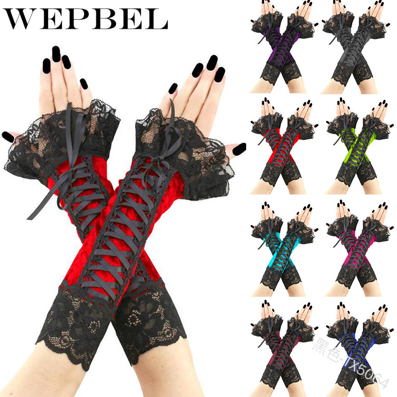 WEPBEl Women Gloves Floral Lace Wedding Sexy Fashion Vintage Ladies Long Arm Warmers