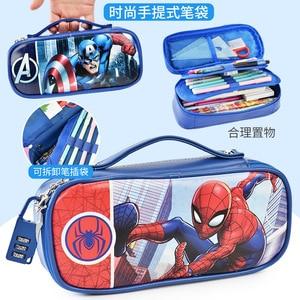 Image 4 - Marvel Captain America pencil case with password lock Spiderman Mickey school supplies large capacity multi function pencil bag