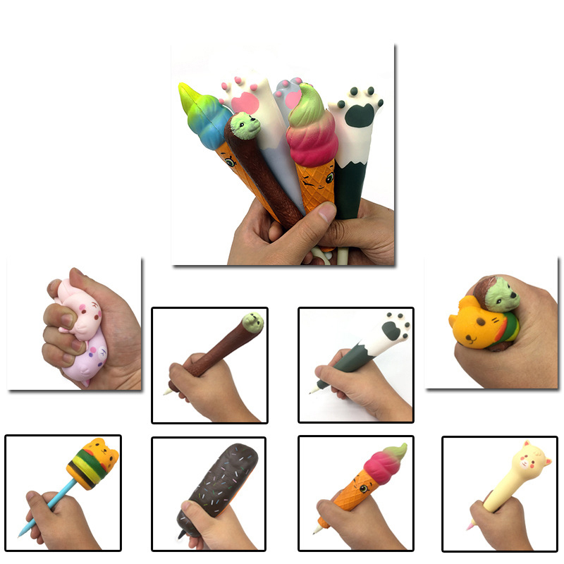 2pcs Cute Squishy Pen Cap Cat Chocolate Alpaca Torch Stationery Pencil Holder Toppers Slow Rising Squeeze Children Gift