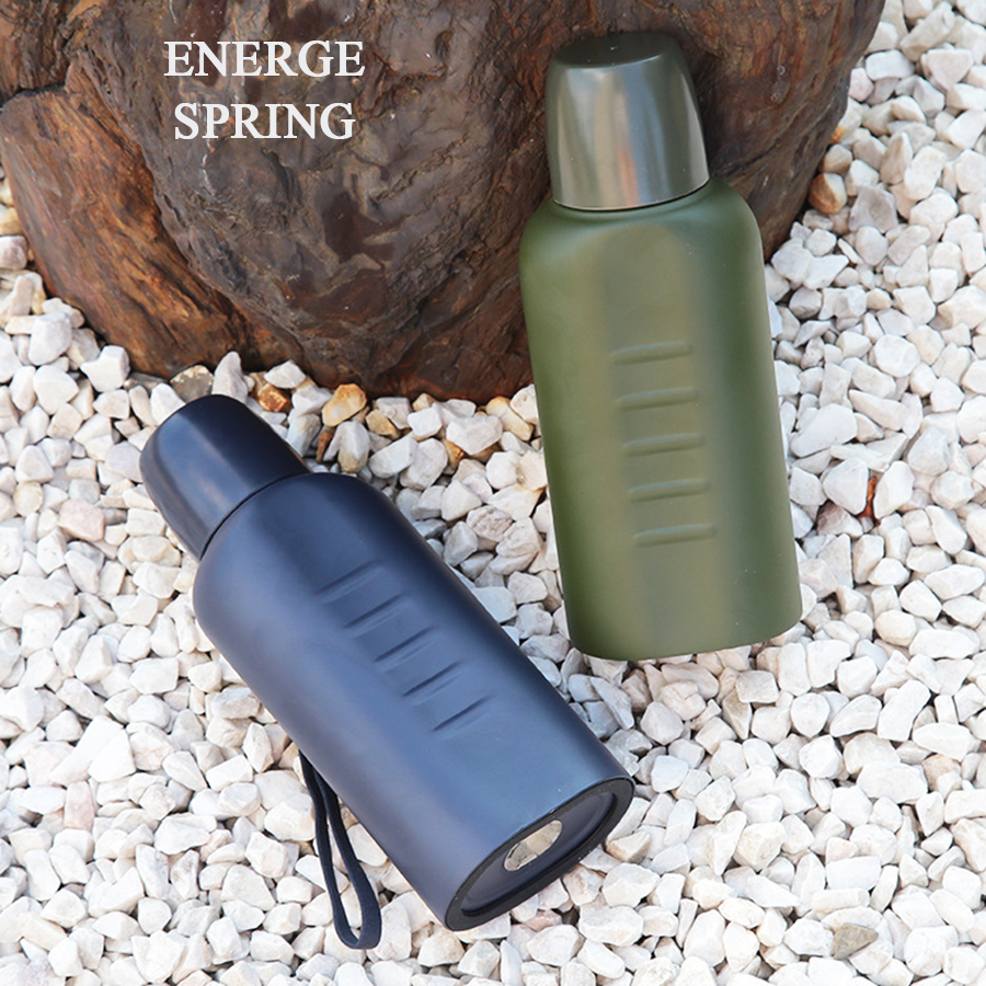 ENERGE SPRING 304 stainless steel flat insulation kettle efficient insulation / cold alarm police kettle outdoor sports cup