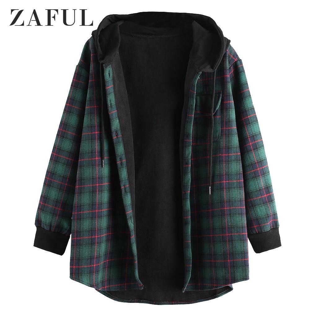 ZAFUL Женское зимнее пальто клетчатое пальто с капюшоном и карманами на пуговицах