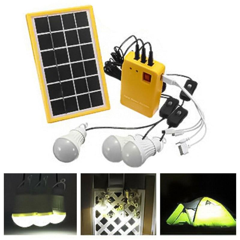 Panel Solar portátil para exteriores, generador eléctrico, Kit de sistema de 3 bombillas LED
