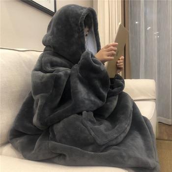 Winter Warm TV Pocket Hooded Blankets Adults Bathrobe Sofa Cozy Blanket Sweatshirt Solid Plush Coral Fleece Blankets Outwears