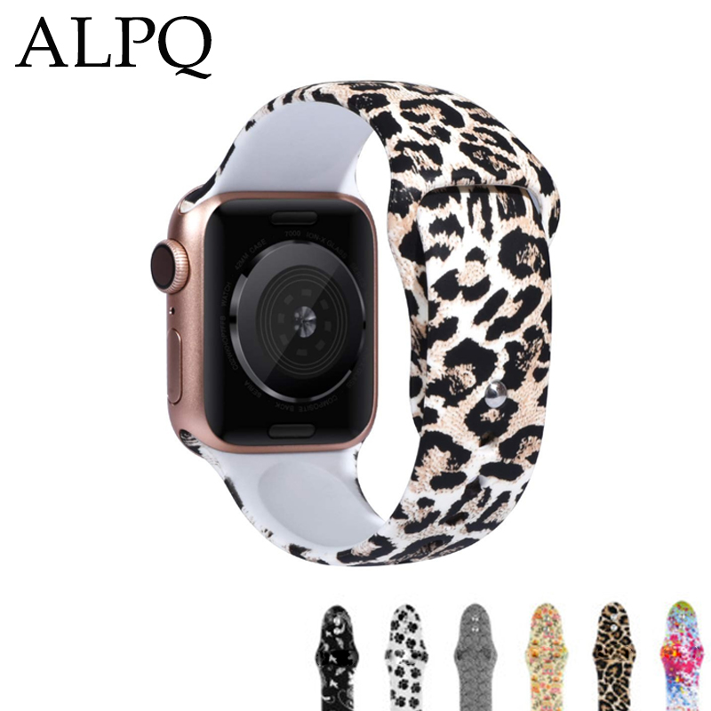 ALPQ For Apple Watch 5 4 Band Strap 38 42mm 40mm 44mm Soft Silicone Leopard Floral Pattern Printed Strap For iWatch Series 3 2 1 image