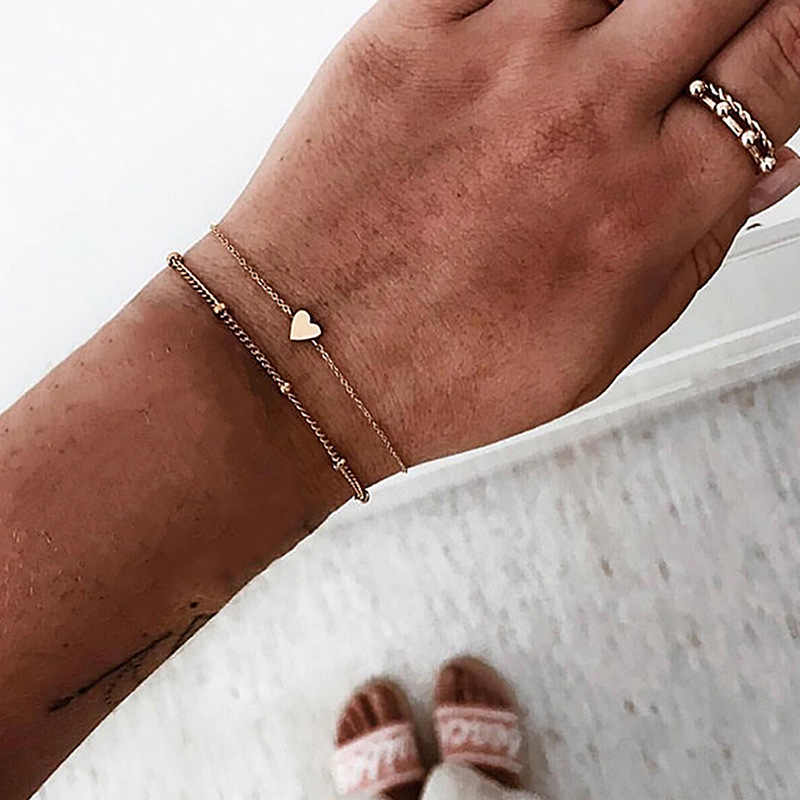 2pcs/set Minimalist Gold Silver Color Small Love Link Chain Bracelets For Women Friendship Love Charm Bracelets Bangles Jewelry