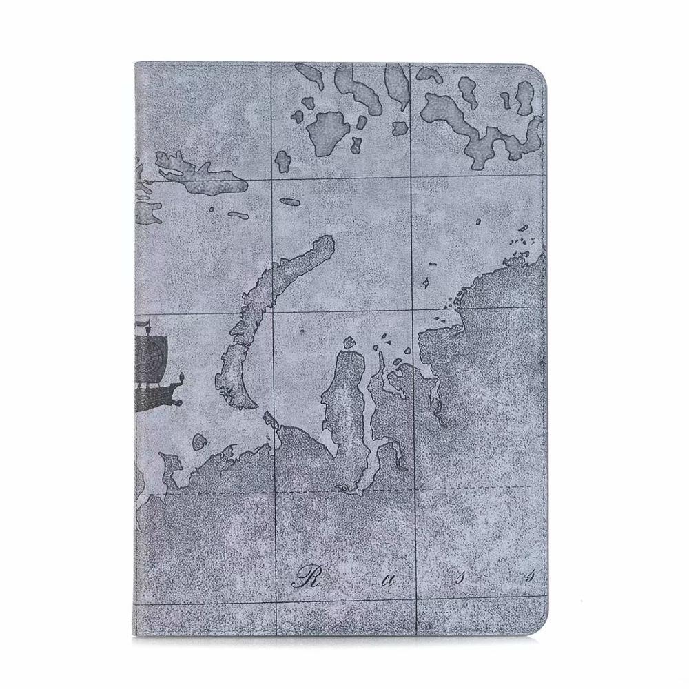 Grey Orange Luxury Folio Coque for iPad 7th 10 2 Case Crocodile Map PU Card Slot Stand A2198