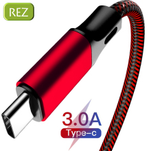 REZ USB Type C Cable to For Samsung Red Fast Charging Type-C kabel Usb Data Wire Xiaomi USB-C провод кабель