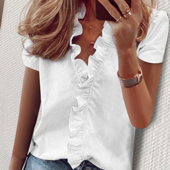 Elegant Women Short Sleeve Slim Blouse Summer Daisy Pineapple Print Ruffle Shirts Office Lady V-neck Blouses Streetwear daisy print ruffle trim blouse