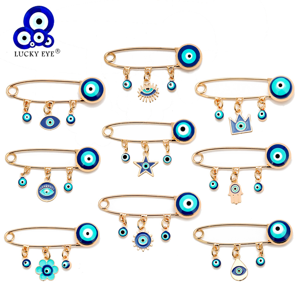 Lucky Eye Blue Turkish Evil Eye Brooch Pin for Women Men Dropping Oil Flower Crown Star Hamsa Hand Charm Fashion Jewelry BD52