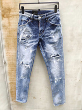 Avrupa amerikan dsq marka kot mavi kot kot pantolon erkekler ince Denim pantolon düğmesi mavi delik kalem pantolon kot erkekler 893