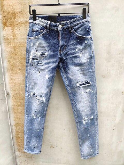 European American dsq brand jeans blue Denim jeans pants Men Slim denim trousers button blue hole Pencil Pants jeans for men 893