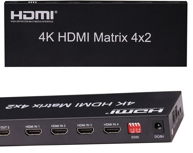 HDMI Matrix 4X2 HDMI commutateur de répartiteur 4 en 2 sortie convertisseur vidéo adaptateur de commutation 4K x 2K avec télécommande Audio optique EDID