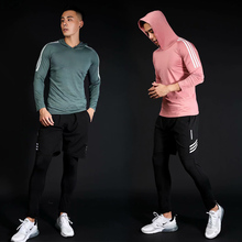 2019 mens running sportswear quick-drying suit 3 sets of compression sports basketball tights gym