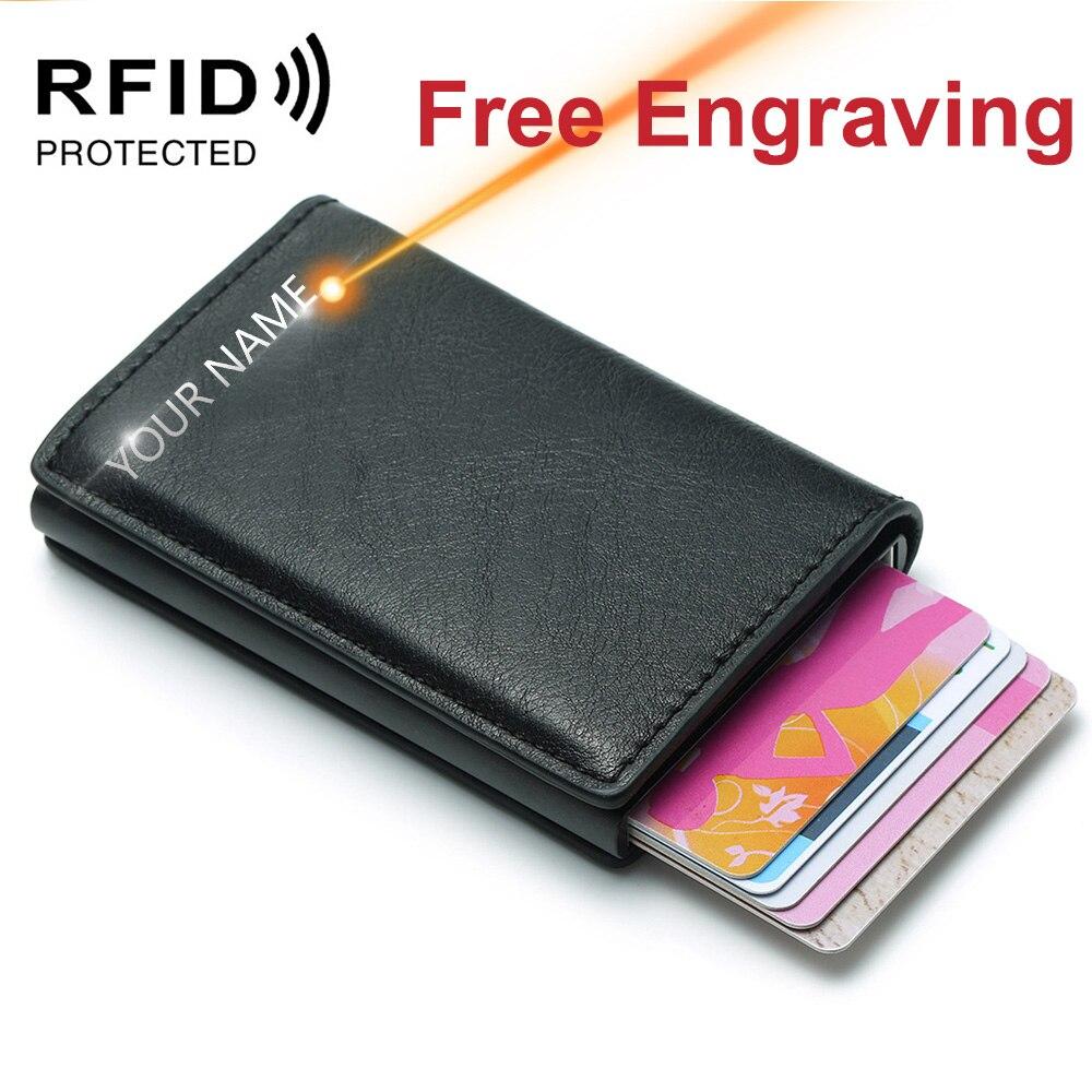 Мужской держатель для кредитных карт с гравировкой имени, анти-Блокировка RFID, кожаный маленький кошелек, чехол для ID карт, металлический защ...