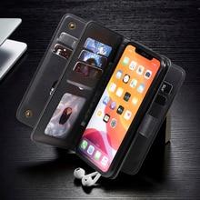Lüks cüzdan kılıf iphone 12 Pro kılıfı iPhone 11 için deri Flip Case 12 Mini X XR XS Max manyetik kart yuvası çanta