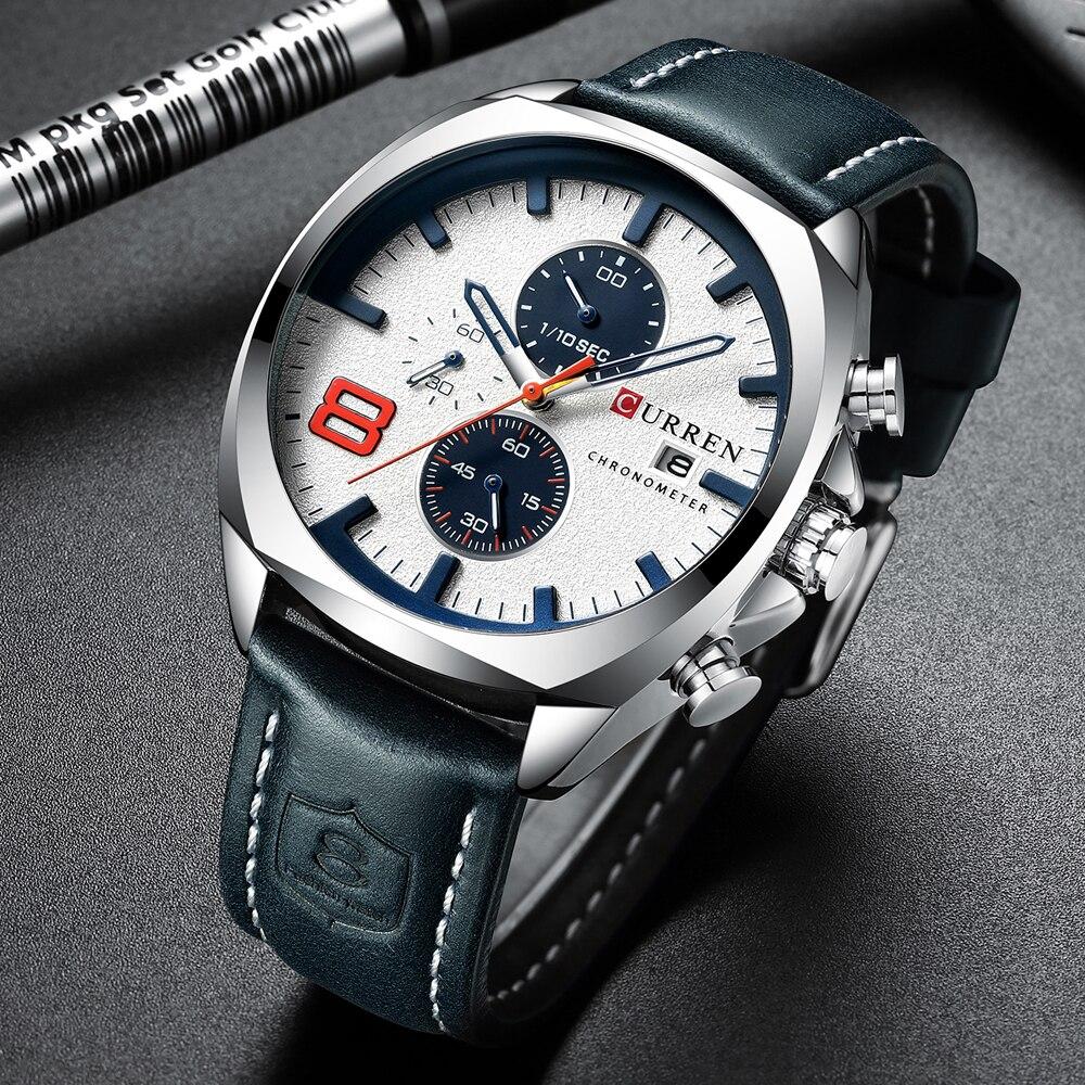 Image 5 - Luxury Top Brand CURREN Mens Watch Leather Strap Chronograph Sport Watches Mens Business Wristwatch Clock Waterproof 30 M 2019Quartz Watches   -