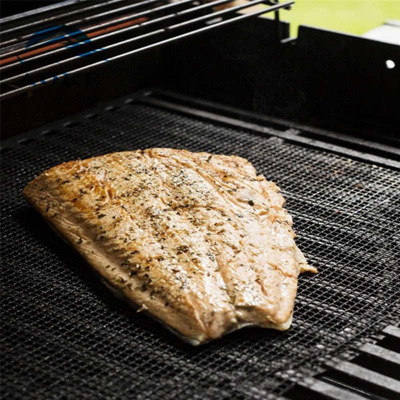 BBQ GRILL PTFE MESH MAT REUSABLE HEAT-RESISTANT NON-STICK SHEET BARBECUE TOOL SU