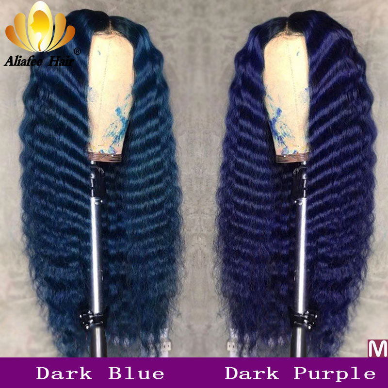 Deep Wave Dark Blue Ombre Colored Malaysia Remy Hair Lace Front 13x4 Human Hair Wigs 150% Pre Plucked With Baby Hair For Women