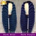 4000859017788 - Pelucas de cabello humano ondulado oscuro azul oscuro color Malasia Remy frontal de encaje 13x4 150% Pre arrancado con pelo de bebé para mujeres