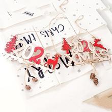 QIFU Wooden Ornaments Decorations Christmas Tree Elk Santa Claus Xmas Decoration Home 2019