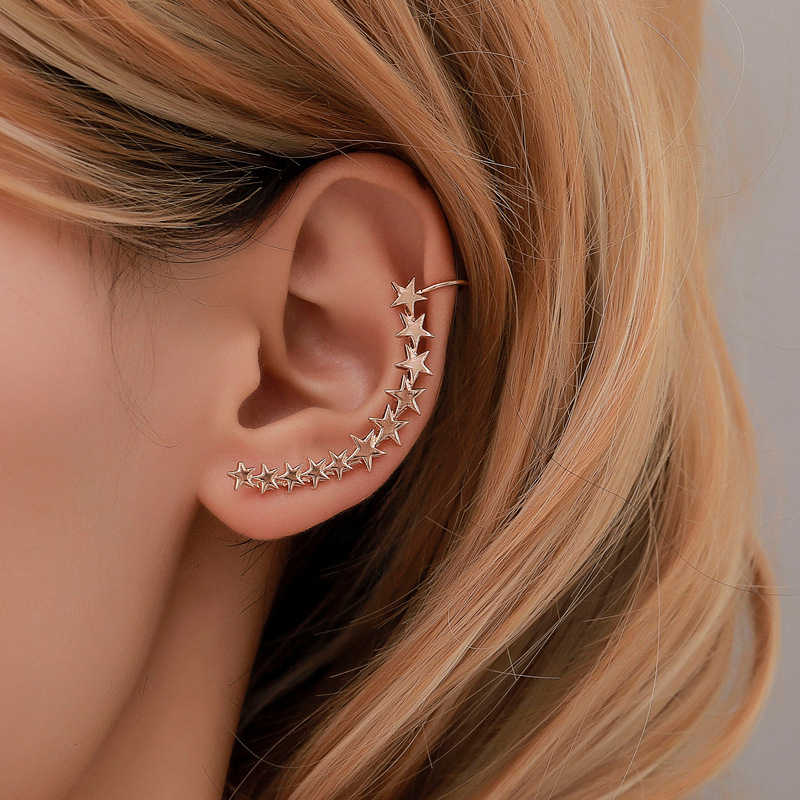 Yobest New Fashion Sliver Gold Color Star Shape Long Earcuffs Bohemian Crystal Clip On Ear Cuff For Women Earring Clips Jewelry