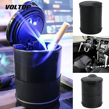 LED Ashtray Portable Ash Tray Car Interior Accessories Truck Office Cigarette Cup Holder Electric Smokeless Ashtray Case