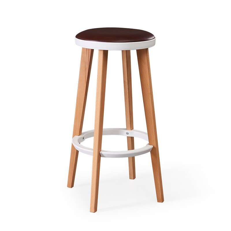 Wooden High Bar Stool Nordic Home Simple  Chair Solid Wood Creative   Leisure