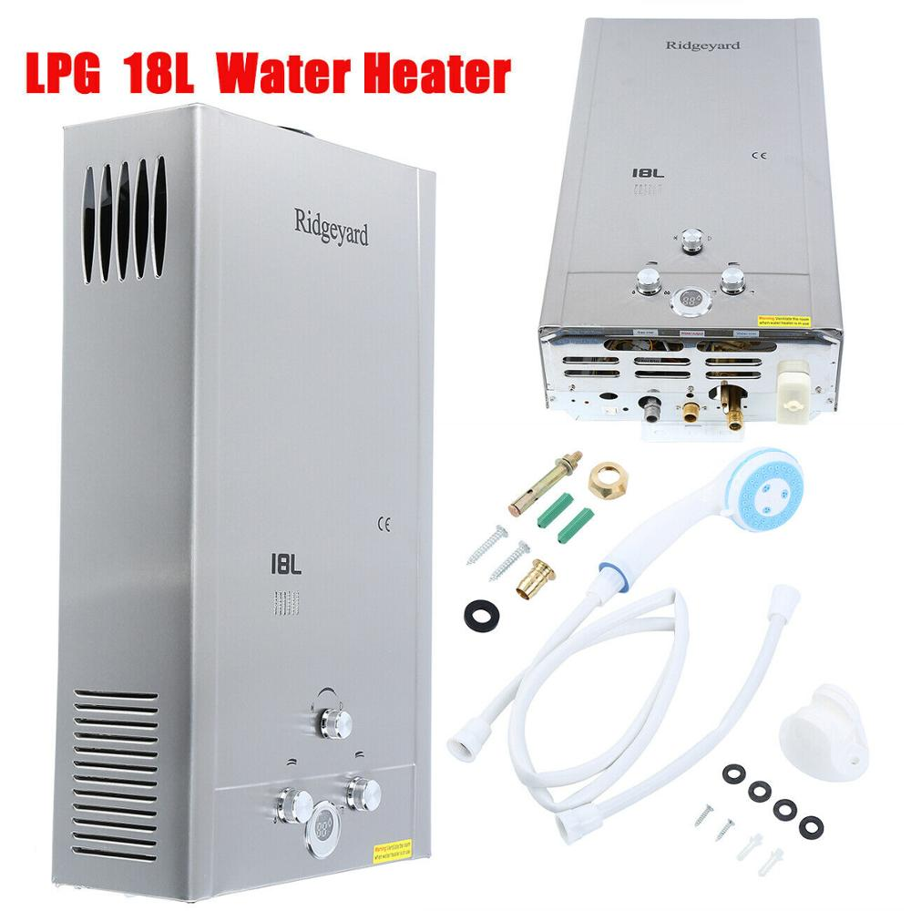 18L Gas LPG Water Heater Stainless Propane Tankless Instant Boiler