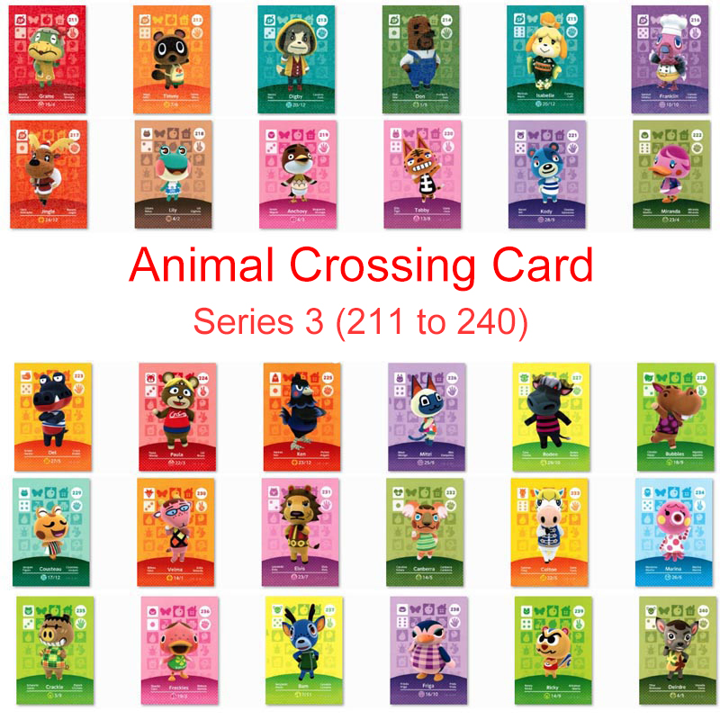 Series 3 (211 To 240) Animal Crossing Card Amiibo Card Work For NS 3DS Switch Game New Horizons Lily Marina Villager Card