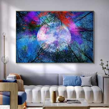 Abstract Sunset and Moon Artwork Picture Printed on Canvas 3