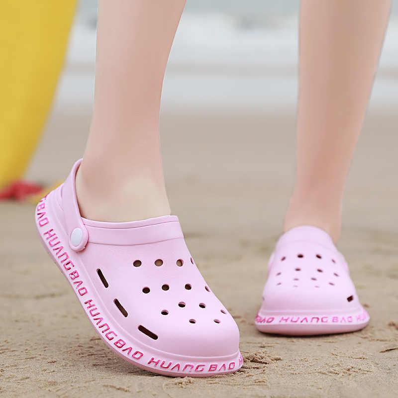 2020 sıcak Crocse Platform bahçe kadın sandalet terlik kayma Croc EVA hafif sandalet Unisex renkli yaz plaj için ayakkabı