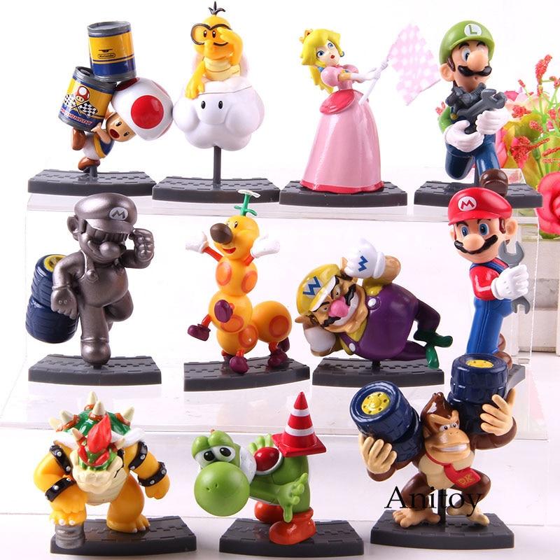 11pcs/set  Mario Brothers Mario Luigi Peach Toad Yoshi Bowser Wario Donkey Kong mario bros Action Figure PVC Model Toys