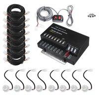 12V 160W 8PCS LED Bulbs Headlight Kit Car Hide Away Emergency Hazard Warning Flash Strobe Light System Kit