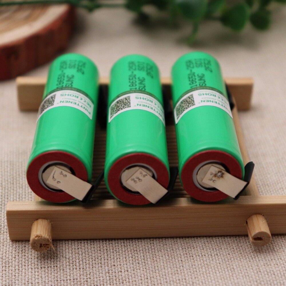 100% оригинал для Samsung 18650 2500 мАч батарея INR18650 25R 20A разрядка литиевых батарей + Сделай Сам никель