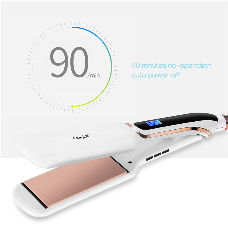 Image 5 - Professional Hair Straightener Flat Irons Ceramic Wide Plate LED Disply Hait Straightening Curling Temperature Adjustment Tools-in Straightening Irons from Home Appliances