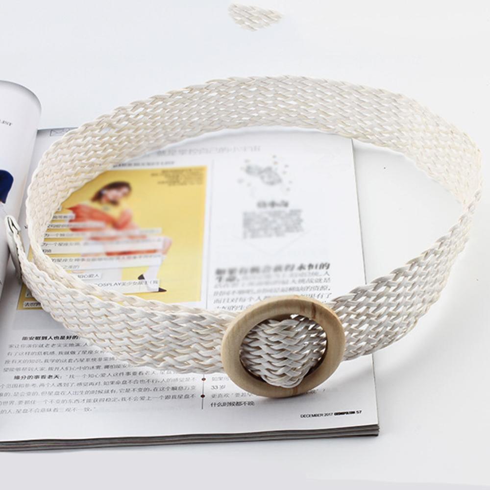Винтажный плетеный пояс в стиле бохо, летний Однотонный женский ремень, Круглый Деревянный гладкий ремень с пряжкой, поддельные соломенные широкие ремни для женщин, Лидер продаж - Цвет: white01