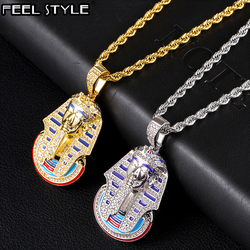 Hip Hop Iced Out Bling Cubic Zirconia Egyptian Pharaoh Necklaces & Pendants For Men Rapper Jewelry With Solid Back