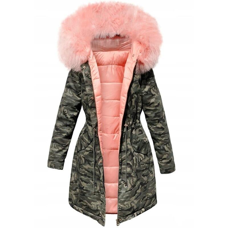 Women Winter Jacket Hooded Parkas Winter Coat Women Loose Parka Fur Collar Cotton Padded Jackets
