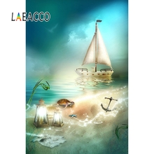 Laeacco Fairytale Sailboat Lamps Anchor Turtle Seaside Beach Baby Photography Background Photographic Backdrops For Photo Studio