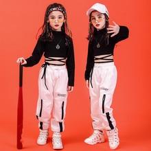 Girl Clothes Summer Chidren Hip Hop Clothing Cotton Black Long Sleeve Crop Tshirt  White Polyester Pant 2 Pcs Streetwear Suit