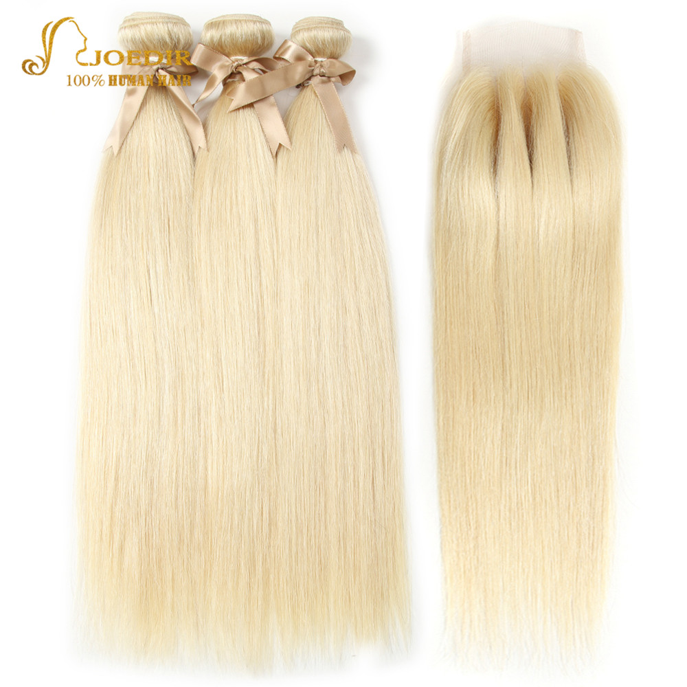 Joedir Malaysian Straight Hair Bundles With Closure 613 Bundles With Closure Honey Blonde Human Hair Weave Bundles With Closure