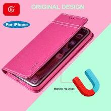 Luxo couro genuíno magnética flip cover para iphone xs 11 12 pro max xr 7 8 plus se 2020 caso carteira à prova de choque 360 casos completos
