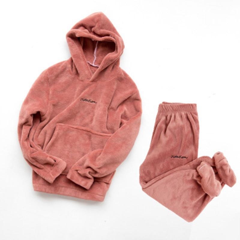 Hoodie Flannel Pajamas Set Thick Pjama Women Winter Warm Sexy Sleepwear 2020 New Fashion Plush Homewear Clothes