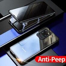 Neue Privatsphäre Magnetische Fall Für Samsung Galaxy S20 Ultra S20 Hinweis 10 Plus Magnet Metall Doppel Seite Gehärtetem Glas Abdeckung 360 fall