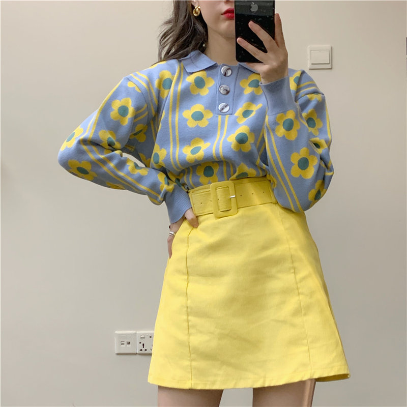 Alien Kitty Loose Soft All-Match Elegance Pullovers 2020 Casual Women Hot Knitted Patchwork Floral Jumpers Warm Chic Sweaters